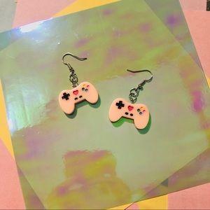 Pastel Pink Kawaii Game Controller Earrings